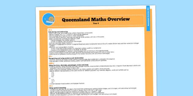 Queensland Curriculum Year 4 English Maths Numeracy Syllabus Overview - australia