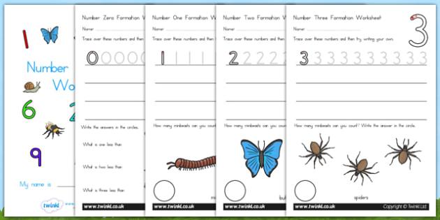 Number Formation Workbook Minibeasts - number forming, minibeast