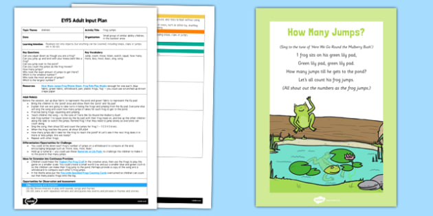 EYFS Jumping Frogs Adult Input Plan and Resource Pack
