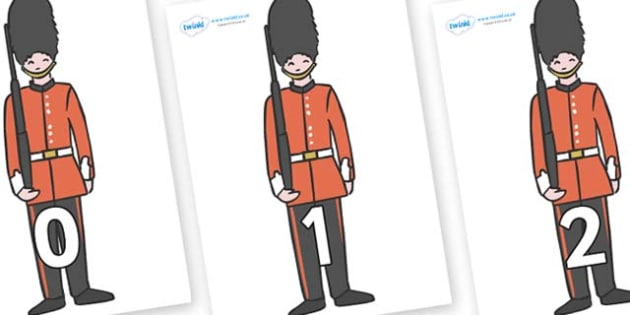 Numbers 0-50 on Royal Guards - 0-50, foundation stage numeracy, Number recognition, Number flashcards, counting, number frieze, Display numbers, number posters