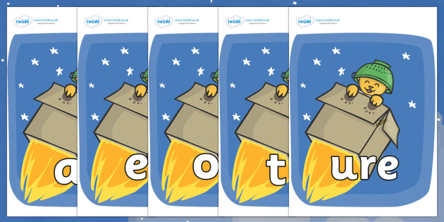 Phase 3 Phonemes on Rockets (Whatever Next) to Support Teaching on Whatever Next! - Phonemes, phoneme, Phase 3, Phase three, Foundation, Literacy, Letters and Sounds, DfES, display