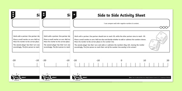 Side to Side Activity Sheet