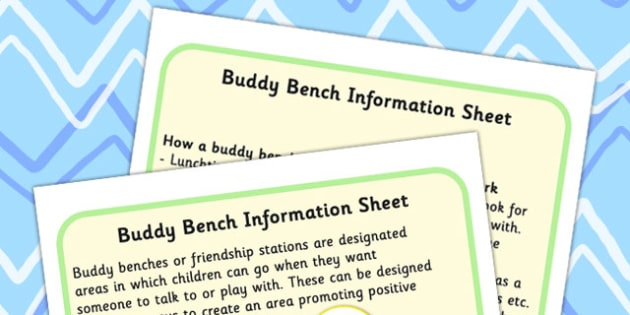 Buddy Bench Friendship Station Information Sheet - friends, SEN