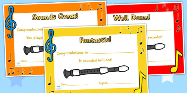 Recorder Certificates - recorder, certificates, music, music award, recorder awards, awards, rewards, class management, class awards, music certificates