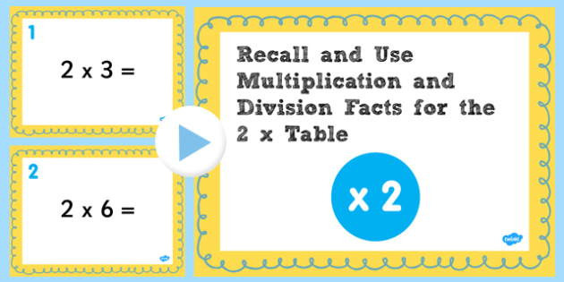 Multiplication Division Facts for 2 Times Table PowerPoint Test