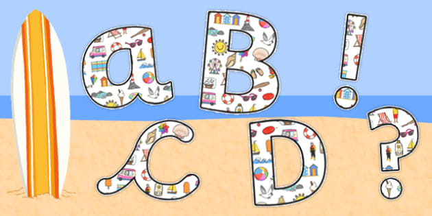 Seaside Display Lettering (Small) - seaside, the seaside, beach, at the beach, seaside lettering, seaside display lettering, seaside alphabet, seaside a-z