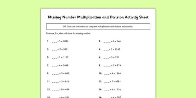 Missing Number Multiplication and Division Activity Sheet - missing number, multiplication, division, activity, sheet, worksheet