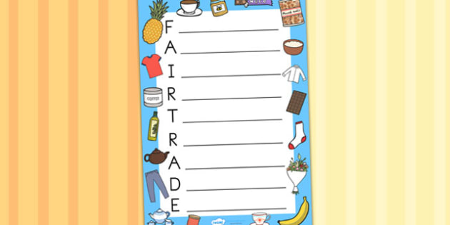 Fairtrade Acrostic Poem Template - writing templates, poems