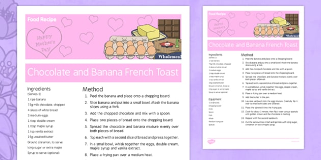 Mother's Day Banana and Chocolate French Toast Recipe - australia, Mother's Day, cooking, recipes, procedure, chocolate, banana, french toast, reading, food
