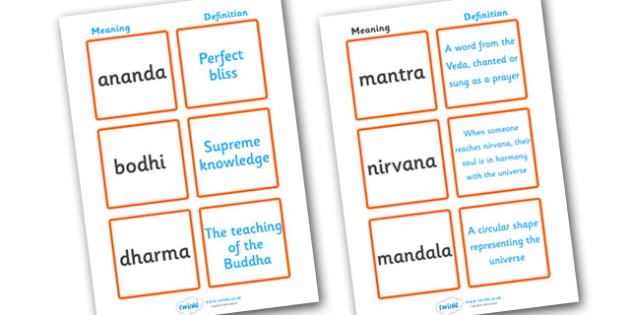 Buddhism Definition Matching Cards - Buddhism, religion, matching, cards, card, flashcards, cycle of rebirth, enlightenment, Karma, Nirvana, Rebirth