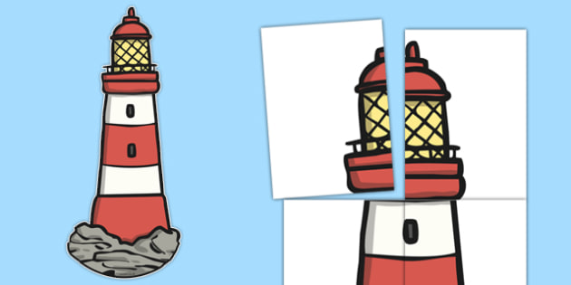 Giant Lighthouse Display Cut Out to Support Teaching on The Lighthouse Keeper's Lunch - giant lighthouse, display, cut out