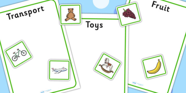 Fruit Toys And Transport Sorting Activity No Visual Support