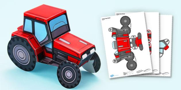 3D Tractor Paper Model Display Activity - 3d, tractor, paper model