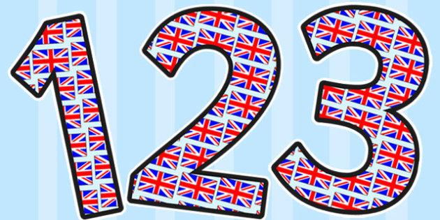 Union Jack Themed Display Numbers - display, numbers, union