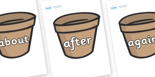 KS1 Keywords on Flower Pots (Plain) - KS1, CLL, Communication language and literacy, Display, Key words, high frequency words, foundation stage literacy, DfES Letters and Sounds, Letters and Sounds, spelling