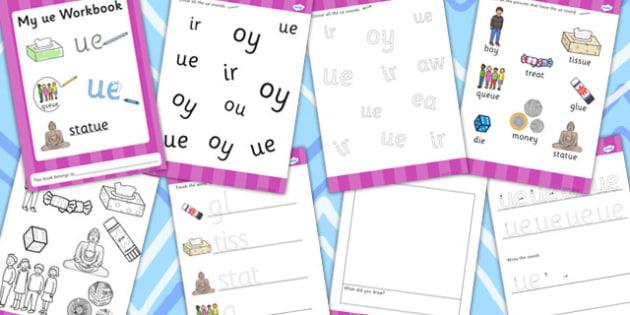 Phase 5 ue Grapheme Workbook - phase five, graphemes, literacy