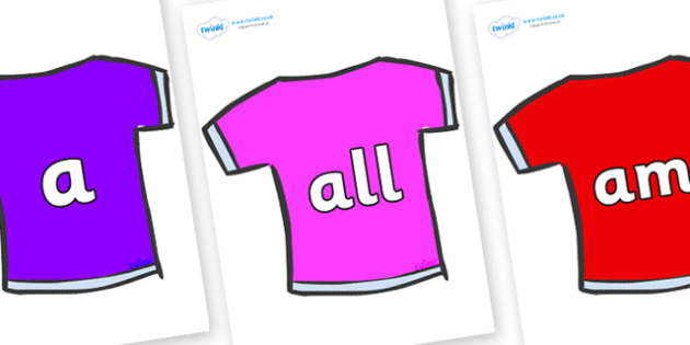 Foundation Stage 2 Keywords on T-Shirts - FS2, CLL, keywords, Communication language and literacy,  Display, Key words, high frequency words, foundation stage literacy, DfES Letters and Sounds, Letters and Sounds, spelling
