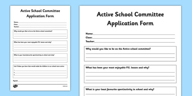 Active Committee Application Form - active school, active flag, blue flag, PE, Sport, committee, application, form
