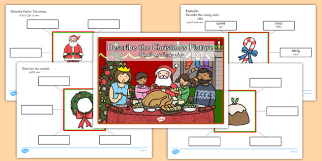 Describe the Picture Christmas Writing Frame Arabic Translation - early years, ks1, key stage 1, festive, colouring, speaking and listening, writing, activity,