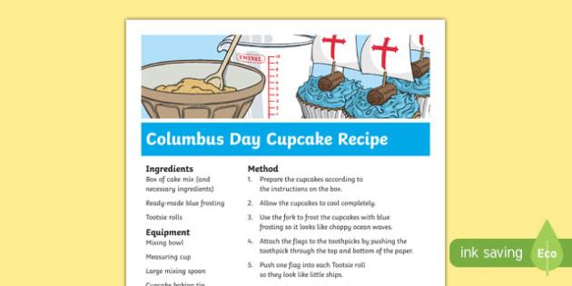 Columbus Day Cupcake Recipe