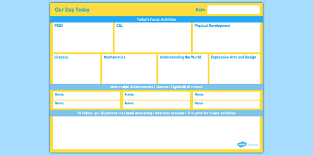 EYFS Our Day Today Planner - EYFS planning, Early years activities