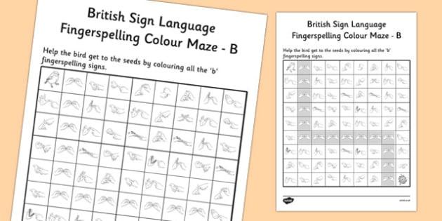 British Sign Language Left Handed Fingerspelling Colour Maze B