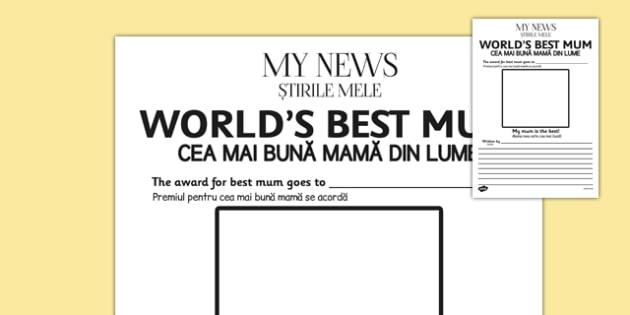 World's Best Mum Newspaper Template Romanian Translation - romanian, worlds best mum newspaper template, worlds best, mum, mum, best mum, newspaper, template, templates, mother, world, best, writing, activity, creative