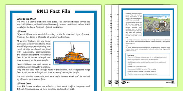 RNLI Differentiated Reading Comprehension Activity
