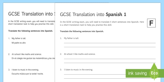 GCSE Translation into Spanish Foundation Tier 1 Activity Sheet