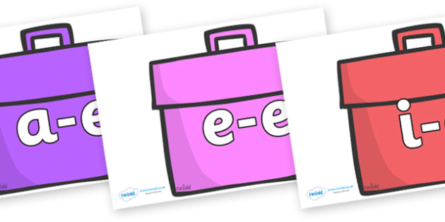 Modifying E Letters on Book Bags - Modifying E, letters, modify, Phase 5, Phase five, alternative spellings for phonemes, DfES letters and Sounds