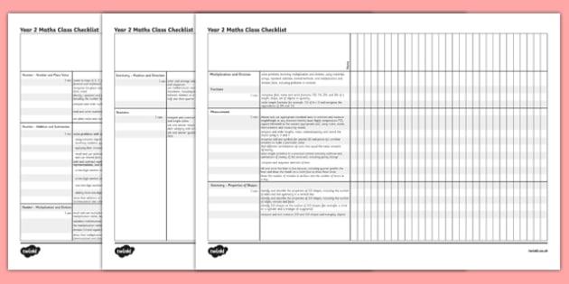 2014 Curriculum Year 2 Maths Assessment Class Checklist - numeracy