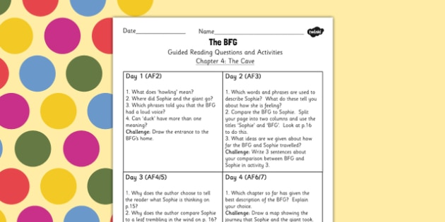 Guided Reading questions Chapter 4 to Support Teaching on The BFG - roald dahl, reading aid