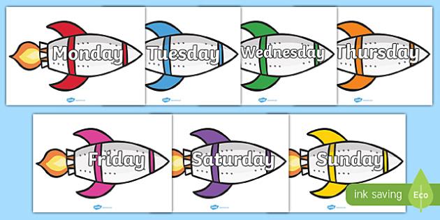 Days of the Week on Rockets - Weeks poster, Weeks display, Rockets poster, Days of the week, space, topic, days, weeks
