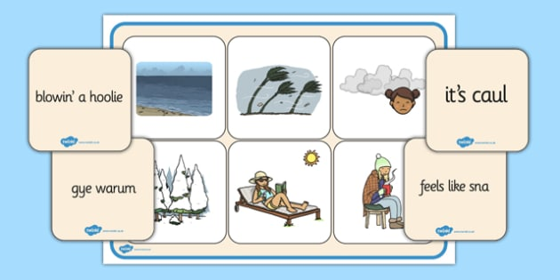 Scots Weather Words Match up Game - CfE, Literacy, Scots Language, cfe, weather, match up, game, words