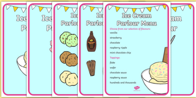 Ice Cream Parlour Display Posters - Ice cream, shop, parlour, poster, display, ice cream shop, ice cream cafe, cone, flake, flavouring, cafe, stall, stand, banana, choc chip