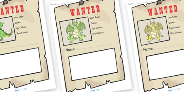 Dragon Wanted Poster Writing Frames - Dragon Wanted Poster Writing Frames, Dragon, dragons, wanted poster, wanted, poster, writing template, writing frames, word cards, flashcards, template