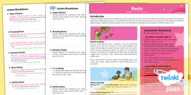 PlanIt - Science Year 3 - Rocks Planning Overview CfE - planit, science, year 3, rocks, planning, overview, cfe