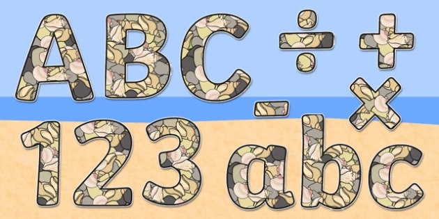 Shell-Themed Display Lettering - shell, display lettering, display, lettering, letters, seaside