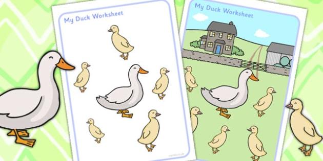 Multi Purpose Duck Work Sheet Pack - ducks, animals, worksheets