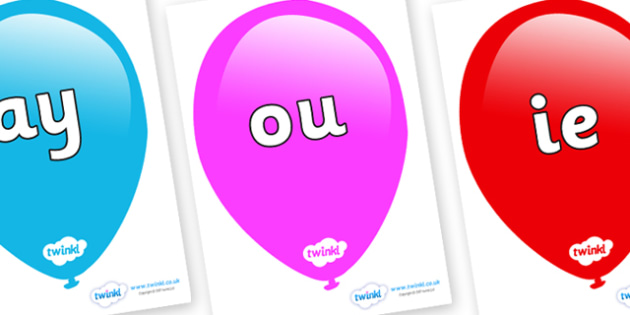 Phase 5 Phonemes on Balloons - Phonemes, phoneme, Phase 5, Phase five, Foundation, Literacy, Letters and Sounds, DfES, display