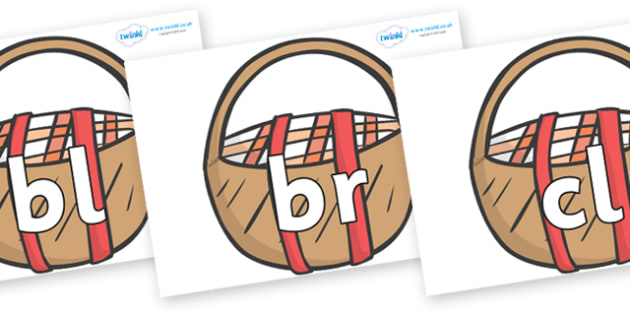 Initial Letter Blends on Picnic Baskets to Support Teaching on The Lighthouse Keeper's Lunch - Initial Letters, initial letter, letter blend, letter blends, consonant, consonants, digraph, trigraph, literacy, alphabet, letters, foundation stage liter