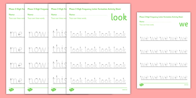 Phase 3 High Frequency Words Letter Formation Activity Sheet - phase 3, high frequency, letter, formation, activity, worksheet