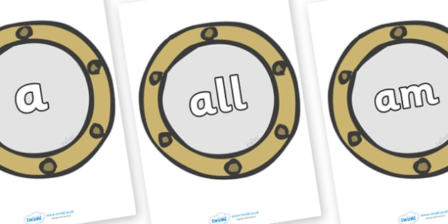Foundation Stage 2 Keywords on Portholes - FS2, CLL, keywords, Communication language and literacy,  Display, Key words, high frequency words, foundation stage literacy, DfES Letters and Sounds, Letters and Sounds, spelling