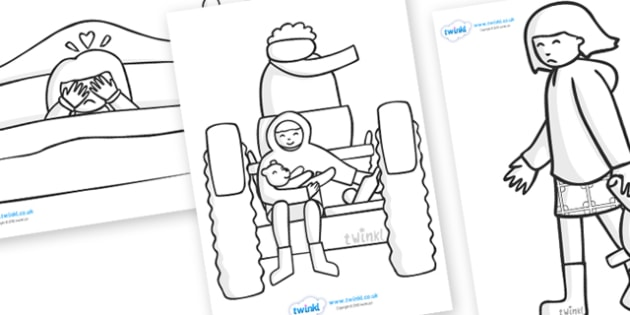 Colouring Sheets to Support Teaching on Katie Morag and the Tiresome Ted - Katie Morag, colouring, story resources, Mairi Hedderwick, story, fine motor skills, scotland, scottish, book, resources, story book