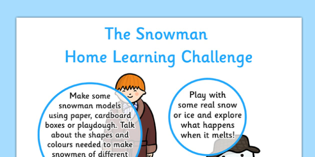 EYFS Home Learning Challenge Sheet Reception FS2 to Support Teaching on The Snowman - EYFS planning, early years activities, The Snowman, Raymond Briggs, homework