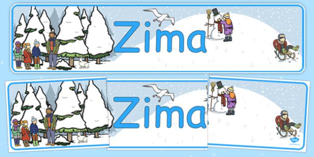 Banner na gazetkę Zima po polsku - pory roku, śnieg, przedszkole