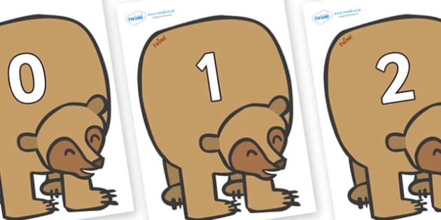 Numbers 0-100 on Brown Bear to Support Teaching on Brown Bear, Brown Bear - 0-100, foundation stage numeracy, Number recognition, Number flashcards, counting, number frieze, Display numbers, number posters