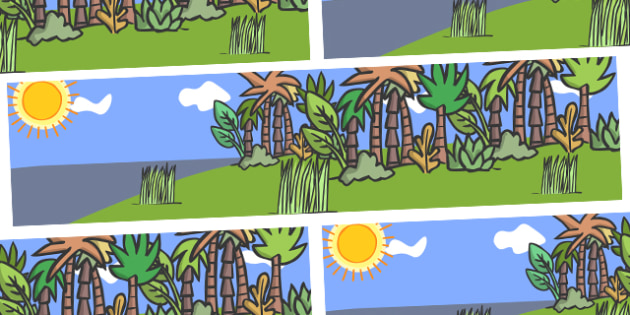 Small World Background to Support Teaching on Rumble in the Jungle - Story, book, resources, Giles Andreae, David Wojtowycz, small world, background, display, banner, teaching resources, book resources, jungle creatures, jungle, book resource