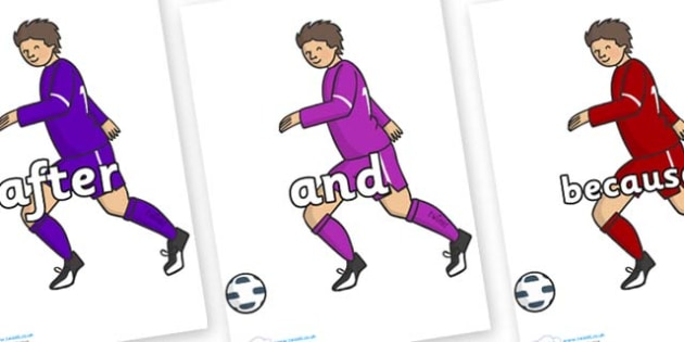 Connectives on Football Players - Connectives, VCOP, connective resources, connectives display words, connective displays