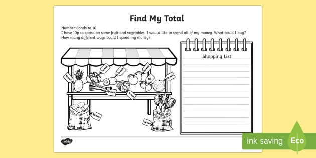 Find my total (Number bonds to 10) Activity Sheet, worksheet